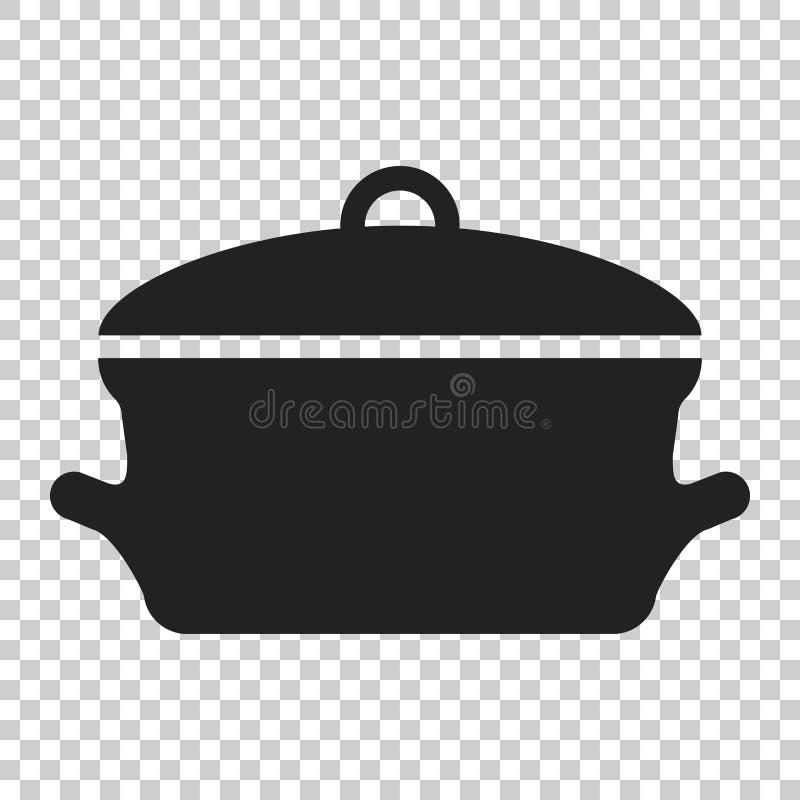 Kulinarna niecki ikona w mieszkanie stylu Kuchenna garnek ilustracja na isol ilustracja wektor