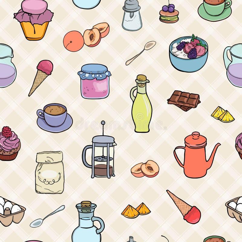 Kulinarna piekarnia, cukierki, śniadaniowa herbata i coffe bezszwowy tło, Wektorowy ilustracyjny smakowity jedzenie ilustracji