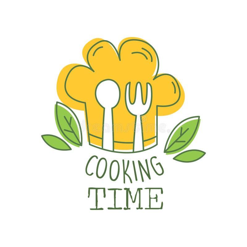 Kulinarna ręka rysujący loga oryginalny projekt z zieleń liśćmi, pomarańczowym szefa kuchni s kapeluszem, rozwidleniem i łyżką, K ilustracji