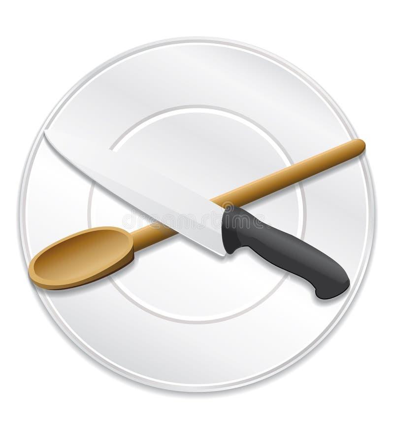 Kulinarna szefa kuchni lub przepisu ikona. royalty ilustracja