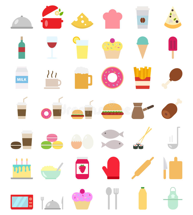 Kulinarne foods ikony ustawiać w mieszkanie stylu ilustracja wektor