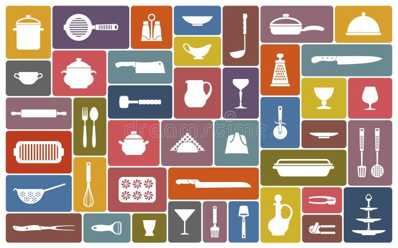 Kulinarne ikony royalty ilustracja
