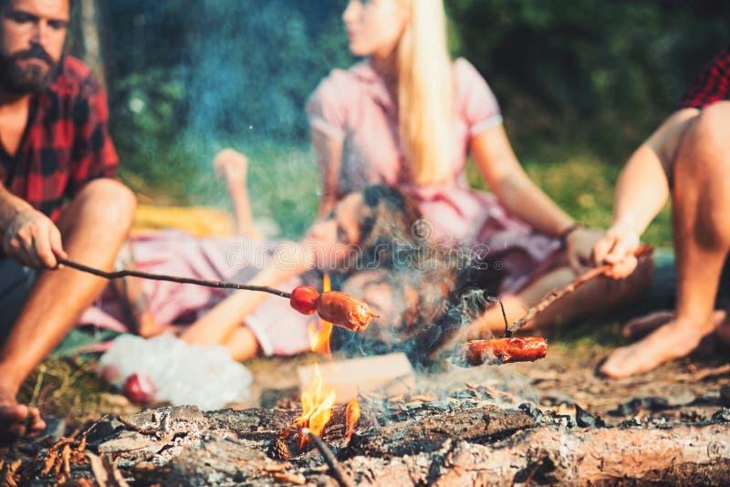 Kulinarne kiełbasy na kijach nad płomieniami ognisko, nocny camping w lecie Grupa przyjaciele siedzi ogniskiem fotografia royalty free