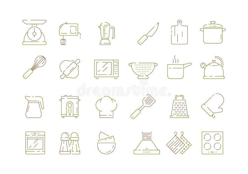 Kulinarne kuchenne rzeczy Nożowe niecek łyżek i rozwidlenie kuchni narzędzi mikrofali elektronicznego szalkowego wektoru cienkie  ilustracji
