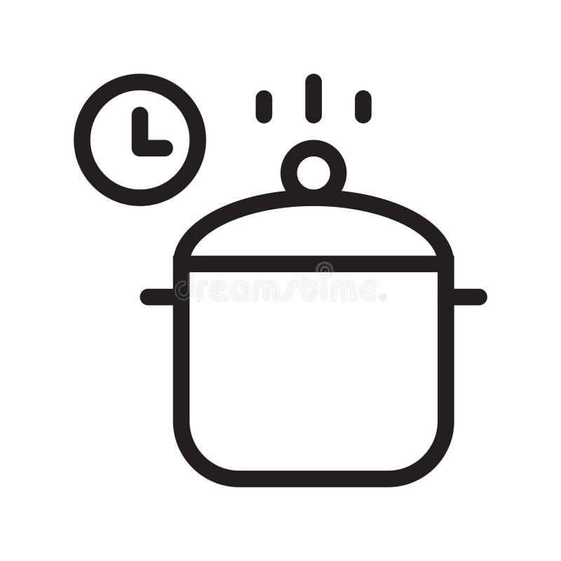 Kulinarnego czasu cienka kreskowa wektorowa ikona royalty ilustracja