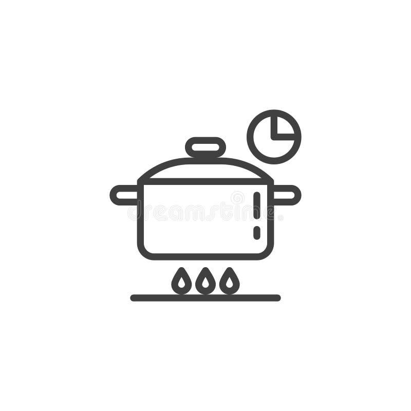 Kulinarnego czasu instrukcji linii ikona royalty ilustracja