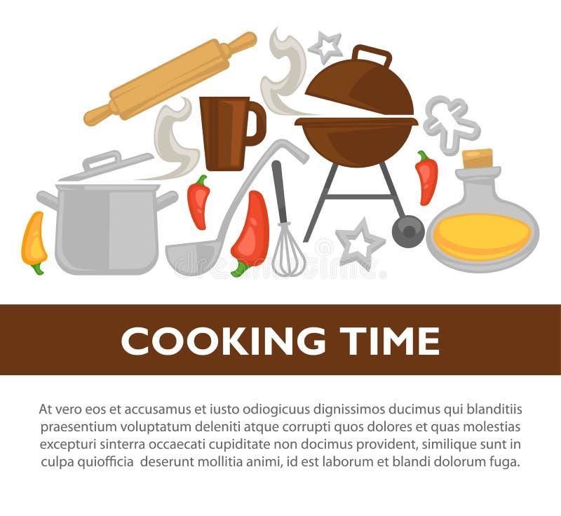 Kulinarnego czasu kitchenware wektorowy plakat ilustracja wektor