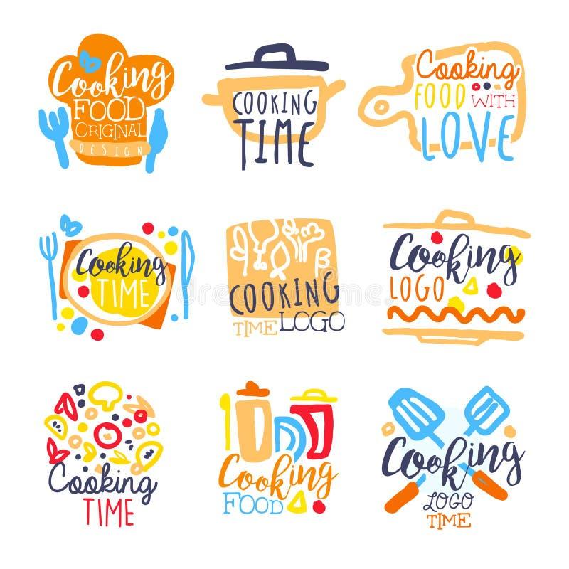 Kulinarnego czasu loga projekt, set kolorowa ręka rysować wektorowe ilustracje ilustracji