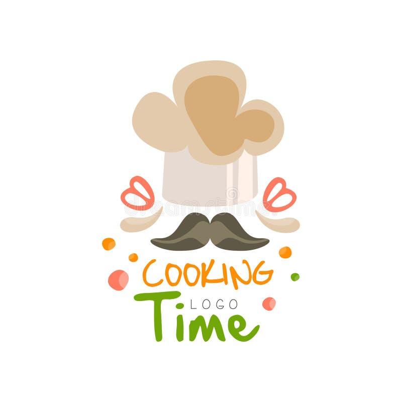 Kulinarnego czasu logo projekt, kuchenny emblemat może używać dla kulinarnej klasy, kurs, szkoły ręka rysująca wektorowa ilustrac royalty ilustracja