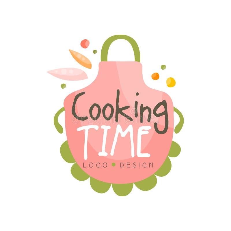 Kulinarnego czasu logo projekt, kuchenny emblemat z fartuchem może używać dla kulinarnej klasy, kurs, szkoła ręka rysujący wektor ilustracji