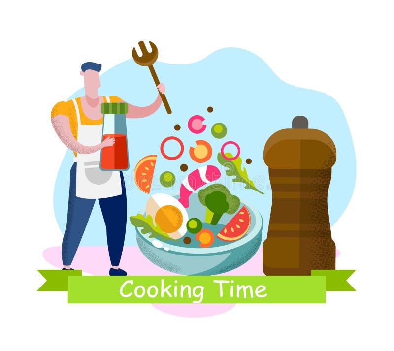 Kulinarnego czasu sztandar, Eco odżywianie, Super jedzenie ilustracja wektor