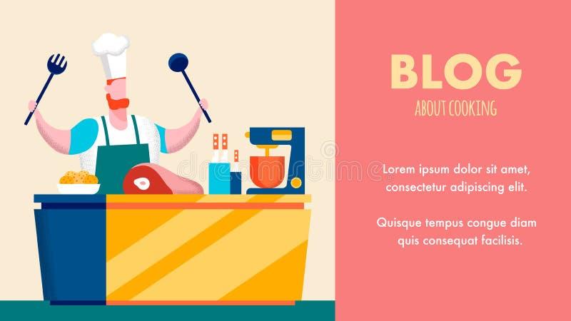 Kulinarnego Internetowego bloga sztandaru P?aski Wektorowy szablon royalty ilustracja