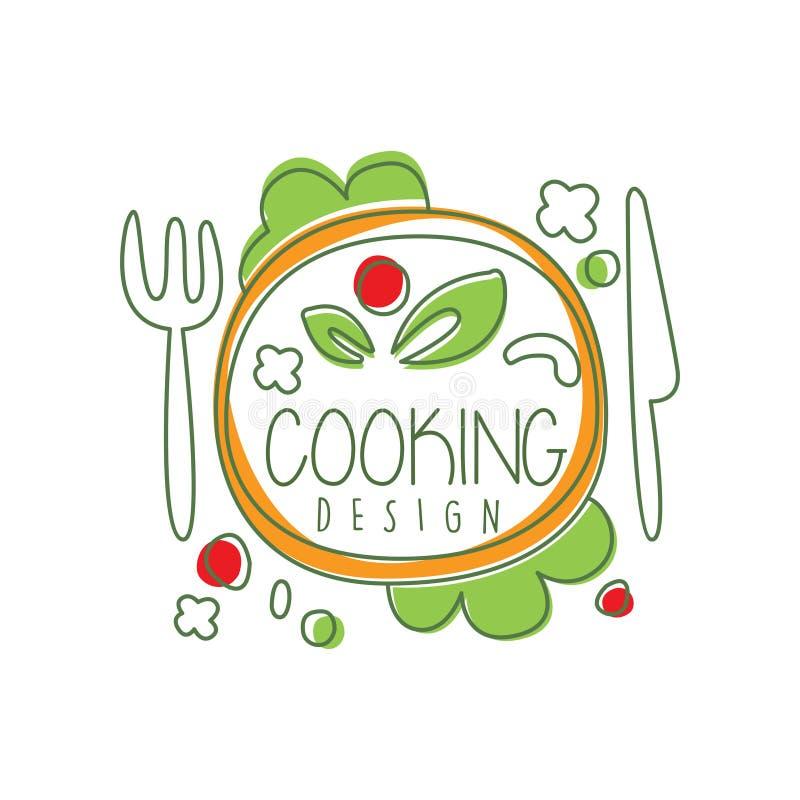 Kulinarnego loga oryginalny projekt z odgórnego widoku obiadowym naczyniem i literowaniem Kreatywnie etykietka dla kawiarni lub r ilustracji