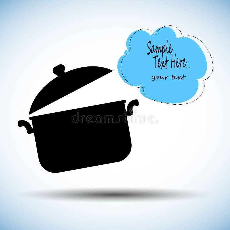 Kulinarnego niecka rondla przedmiota garnka kuchenny karmowy ilustracyjny kucharz ilustracja wektor