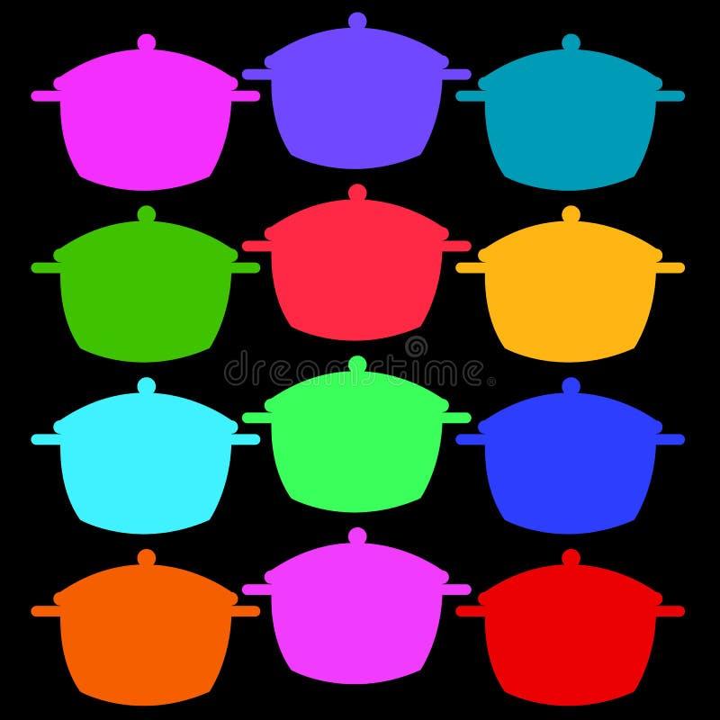 Kulinarnego niecka rondla przedmiota garnka kuchenny karmowy ilustracyjny wektor ilustracji
