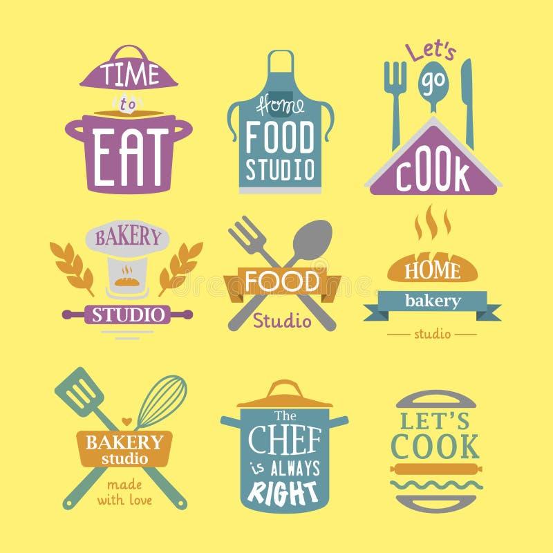 Kulinarnego odznaki motywaci teksta piekarni wektorowego ilustracyjnego sklepu typografii karmowe etykietki projektują elementy royalty ilustracja