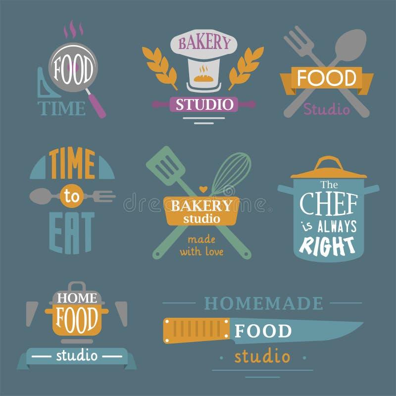 Kulinarnego odznaki motywaci teksta piekarni wektorowego ilustracyjnego sklepu typografii karmowe etykietki projektują elementy ilustracja wektor