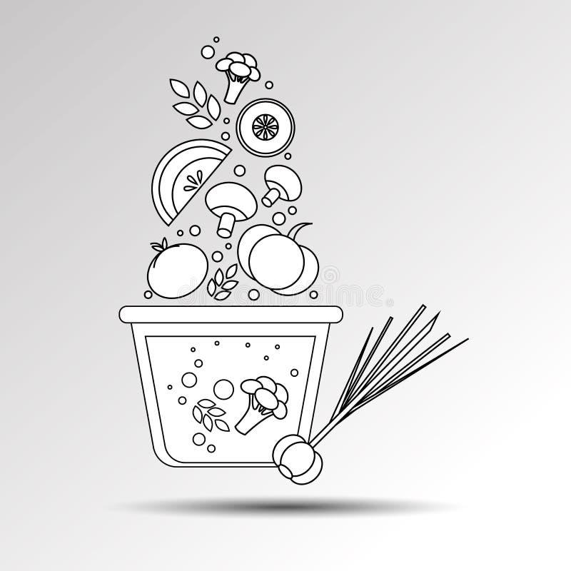 Kulinarnego rondla kuchenny karmowy ilustracyjny przedmiot ilustracja wektor