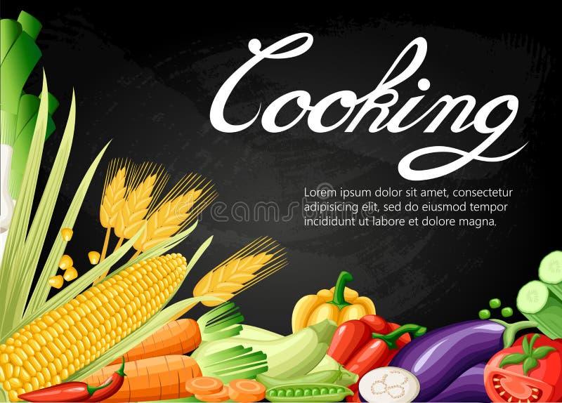 kulinarnej inkasowej tło soli pieprzu pikantność Świeżej kreskówki różny warzywo odizolowywający na białym tle używać dla magazyn royalty ilustracja