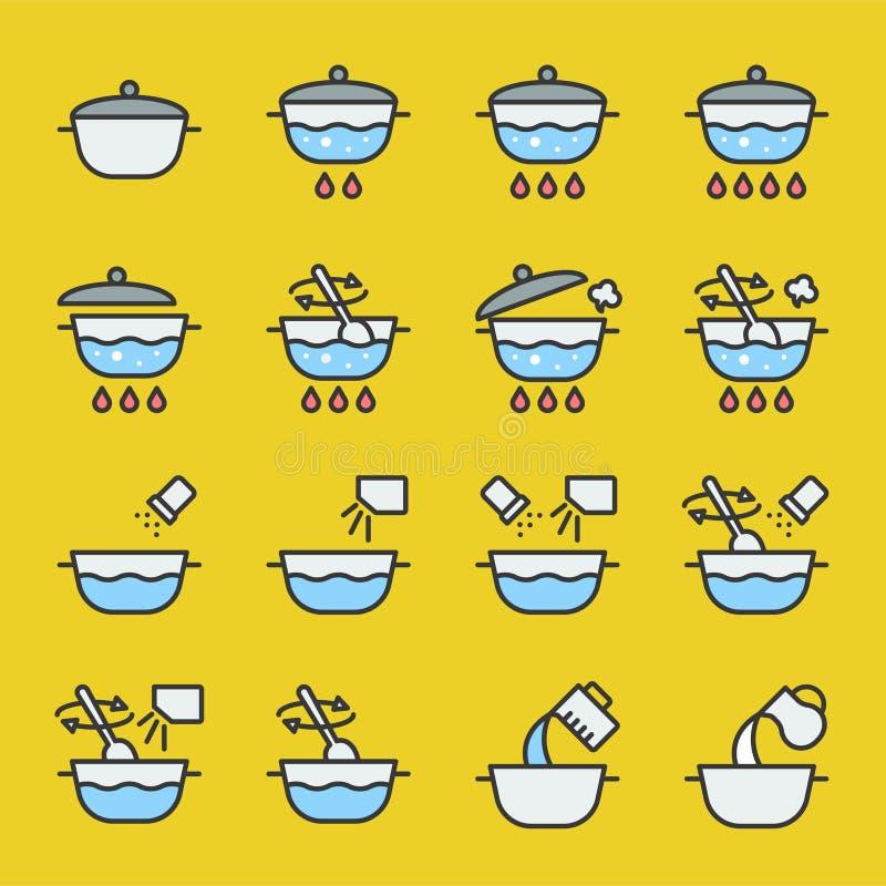Kulinarnej instrukci konturu ikona wypełniający editable uderzenie royalty ilustracja
