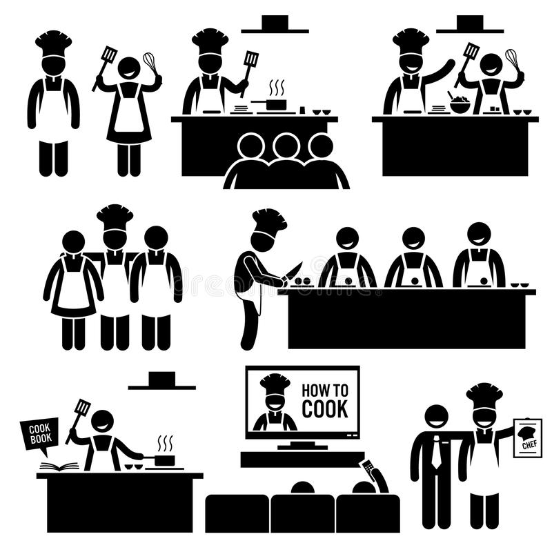 Kulinarnej klasy szef kuchni Cook Clipart ilustracji