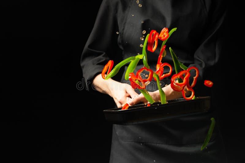 Kulinarni świezi warzywa w niecka szefie kuchni Horyzontalny fotografii przeglądać Ciemnego czerni tło z odbitkowym teksta terene obraz stock