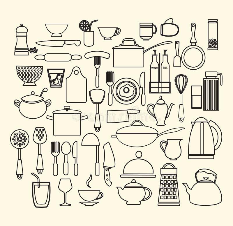 Kulinarni Foods i Kuchenne ikony ustawiający ilustracja wektor