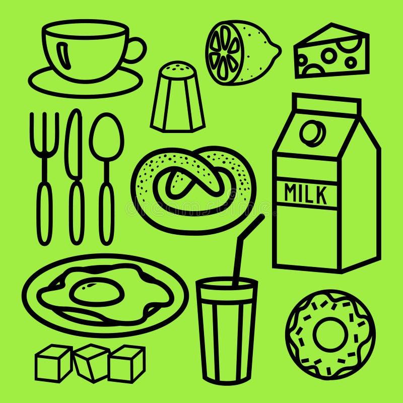 Kulinarni Foods i Kuchenne kontur ikony ustawiający ilustracja wektor