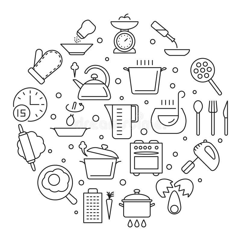 Kulinarni foods i kuchenni narzędzia cienieją kreskowe wektorowe ikony ilustracja wektor