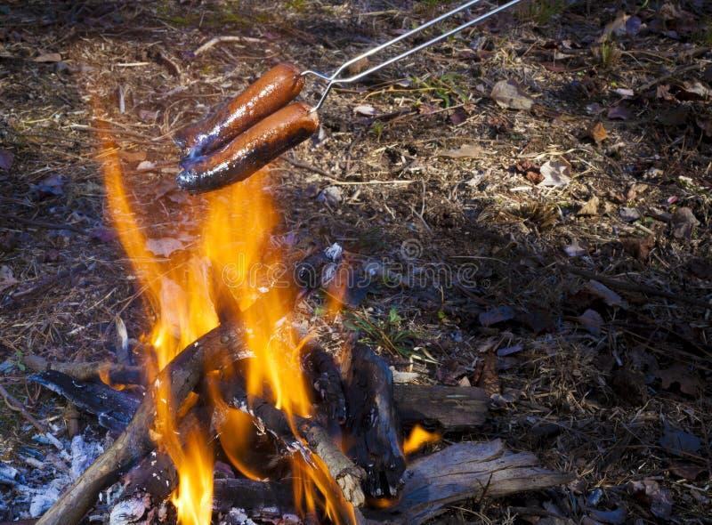Kulinarni hot dog nad ogniskiem fotografia stock
