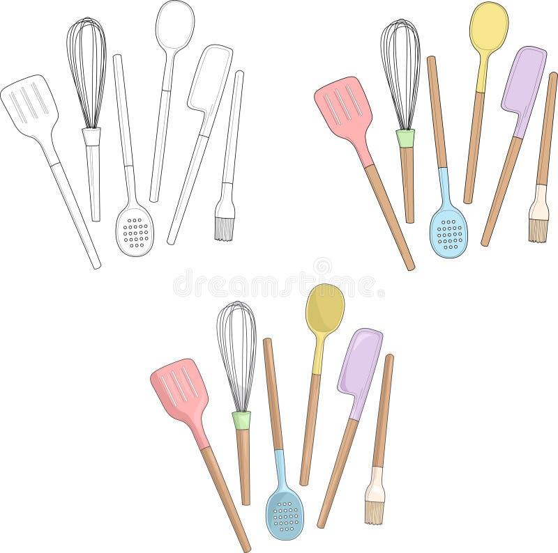 Kulinarni naczynia w pastelowych kolorach r?wnie? zwr?ci? corel ilustracji wektora ilustracja wektor
