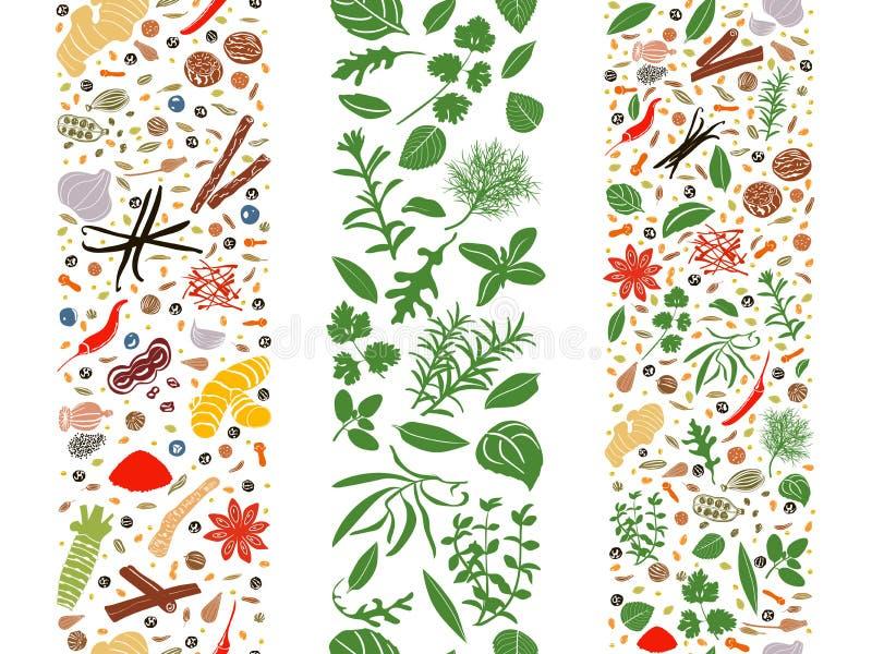 Kulinarni płascy ziele i pikantność organizujący w trzy faborkach royalty ilustracja