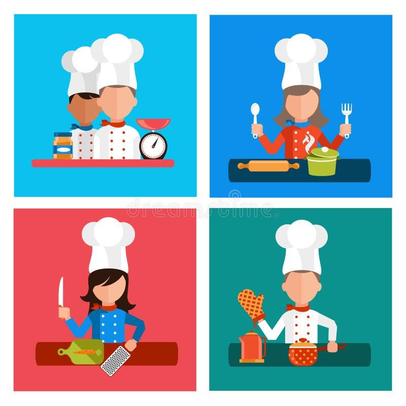 Kulinarni serw posiłki i karmowego przygotowania elementy royalty ilustracja