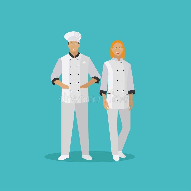 Kulinarni szefów kuchni charaktery Wektorowa ilustracja w mieszkanie stylu projekcie Kobiety i mężczyzna szefa kuchni kucharz ilustracja wektor