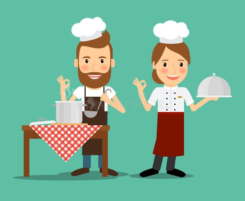 Kulinarni szefowie kuchni wektorowi royalty ilustracja