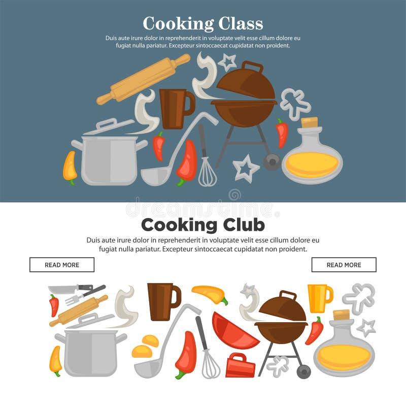 Kulinarni szkolni wektorowi kitchenware sieci sztandary royalty ilustracja
