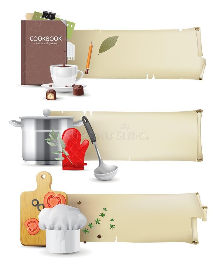 Kulinarni sztandary ilustracja wektor