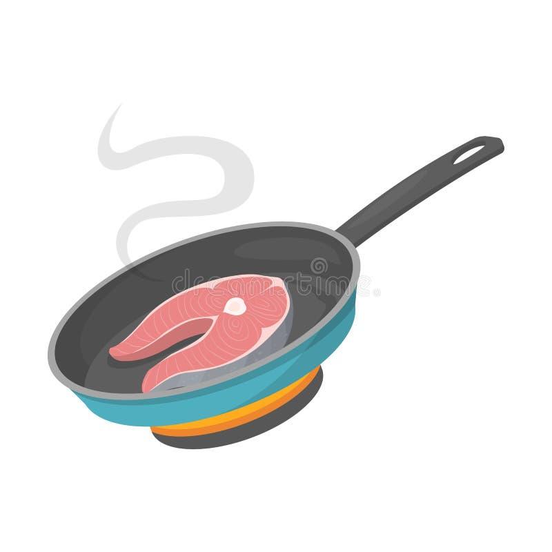 Kulinarny łososiowy stek w smaży niecce Smakowity jedzenie ilustracji