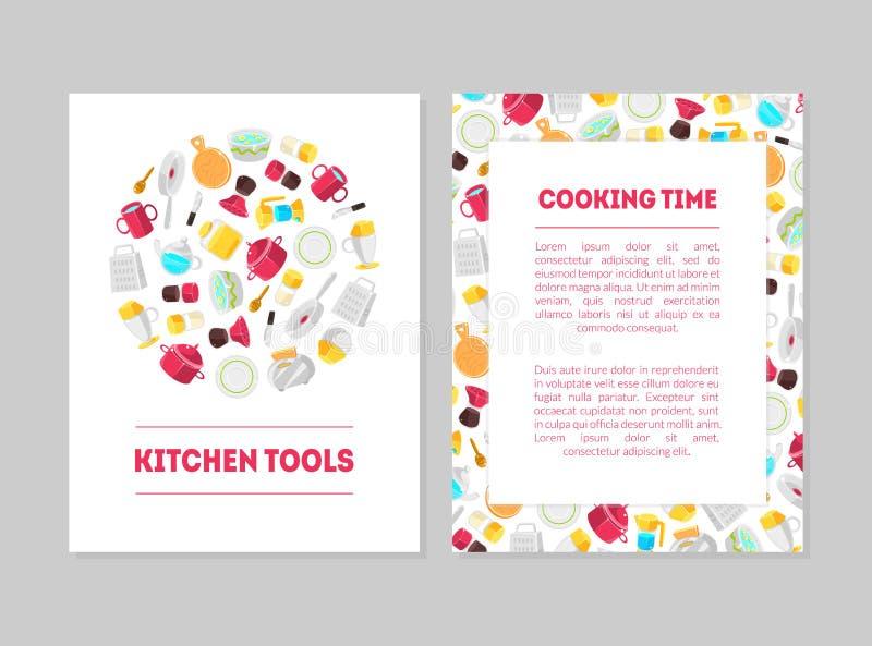 Kulinarny czas, kuchnia Wytłacza wzory sztandarów szablony Ustawiających, karty z miejscem dla teksta i Kulinarni naczynia, proje royalty ilustracja