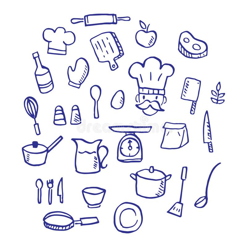 Kulinarny doodle ilustracja wektor