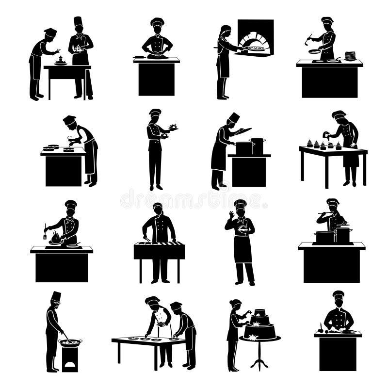 Kulinarny ikony czerń royalty ilustracja