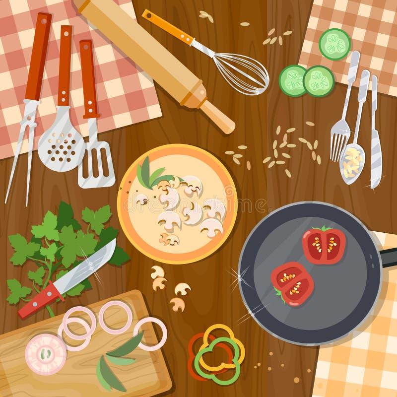 Kulinarny karmowy kitchenware na stołowym odgórnym widoku royalty ilustracja