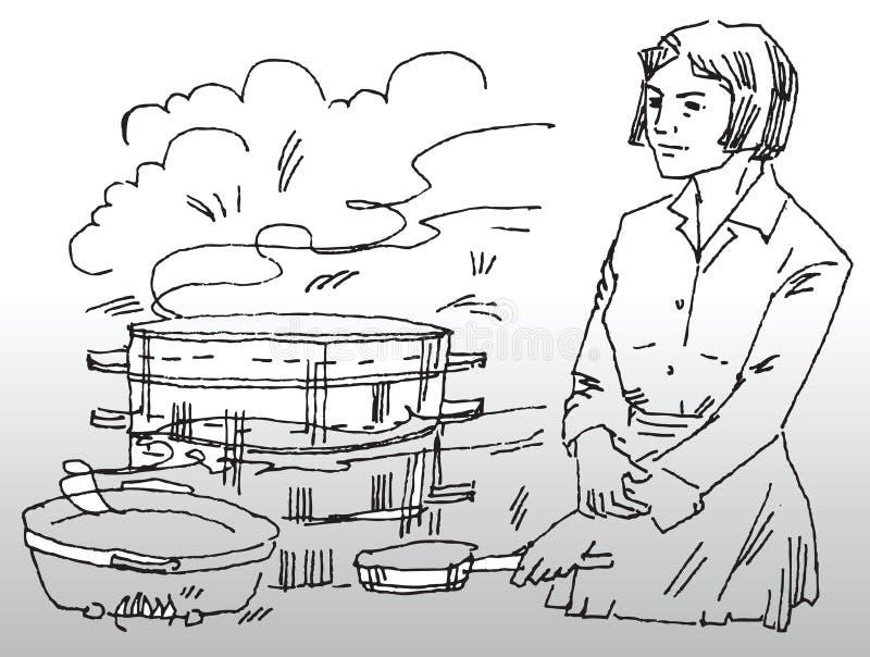 Kulinarny kobieta posiłek ilustracja wektor
