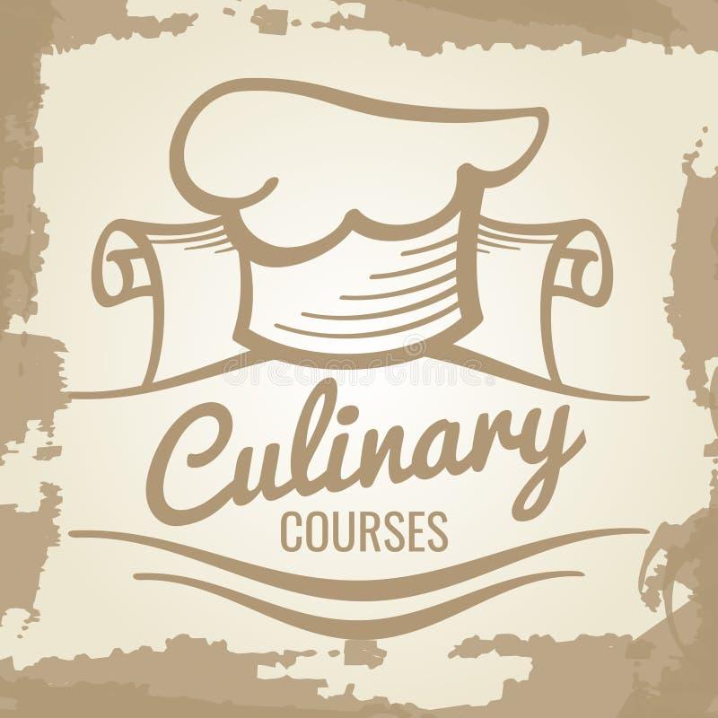 Kulinarny kursu grunge loga lub emblemata projekt ilustracji