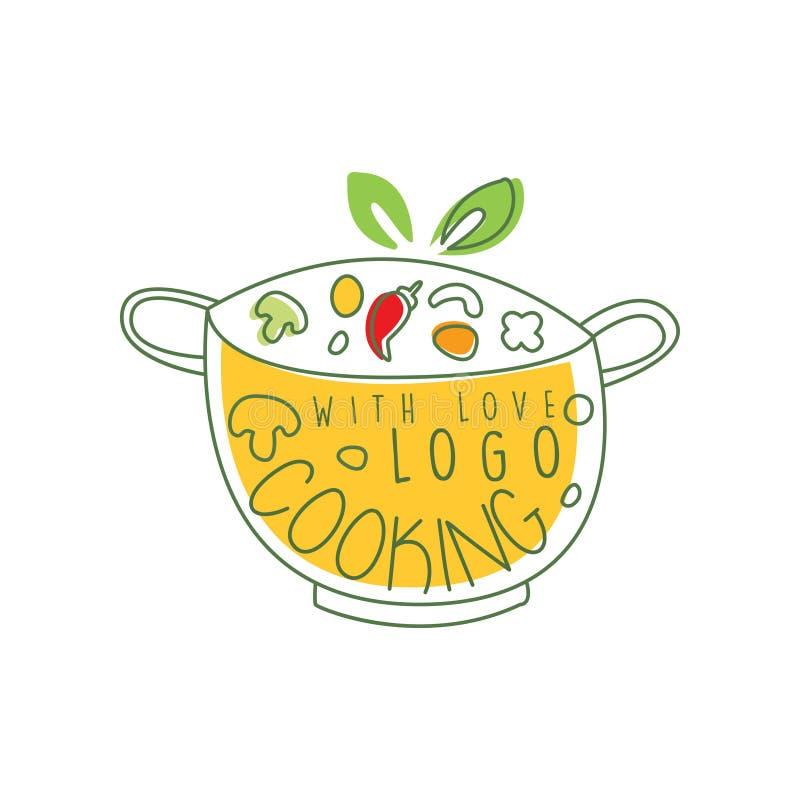 Kulinarny loga projekt z niecką, świeżymi warzywami i kucharstwem z miłości pisać list, Ręka rysujący cookware z jedzeniem linia ilustracja wektor