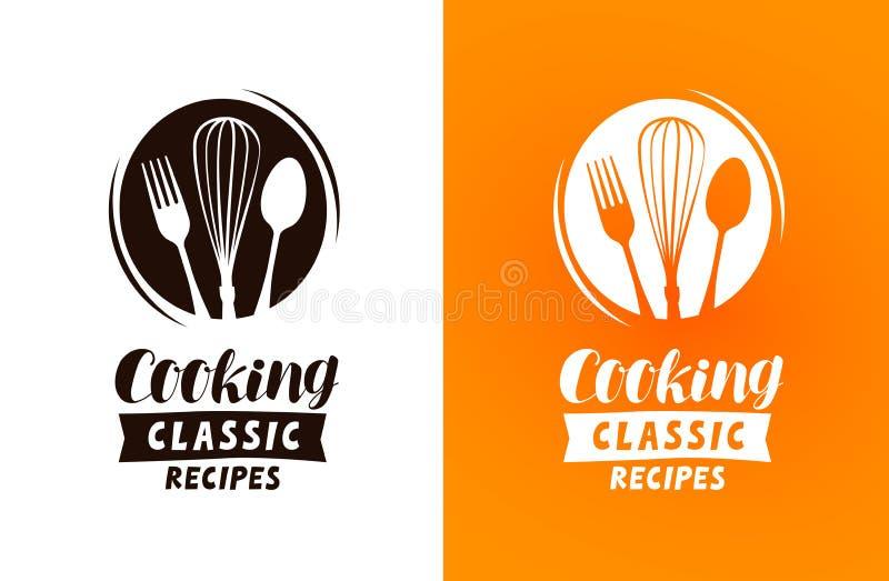 Kulinarny logo lub etykietka Jedzenie, kuchni pojęcie, wektorowa ilustracja ilustracja wektor