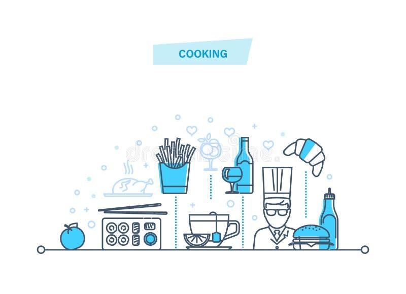 Kulinarny pojęcie wypij jedzenie Pracownicy restauracja, szef kuchni, kucharz royalty ilustracja
