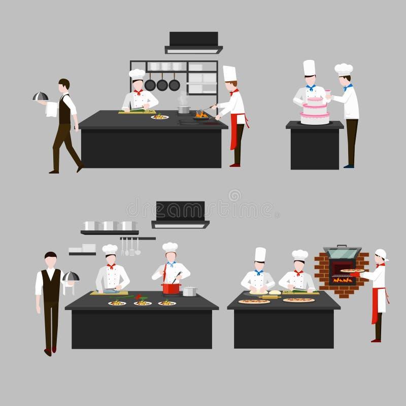 Kulinarny proces w restauracyjnej kuchni ilustracja wektor