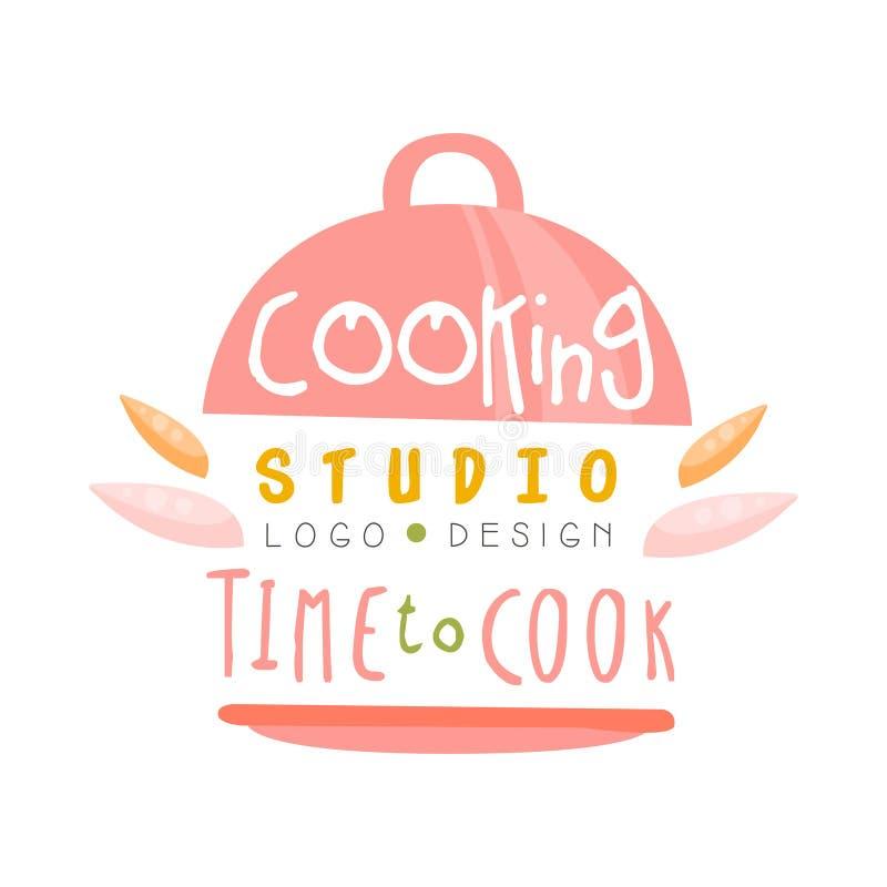 Kulinarny studio, czas gotować logo projekt, kuchenny emblemat może używać dla kulinarnej klasy, kurs, szkoły ręka rysująca royalty ilustracja