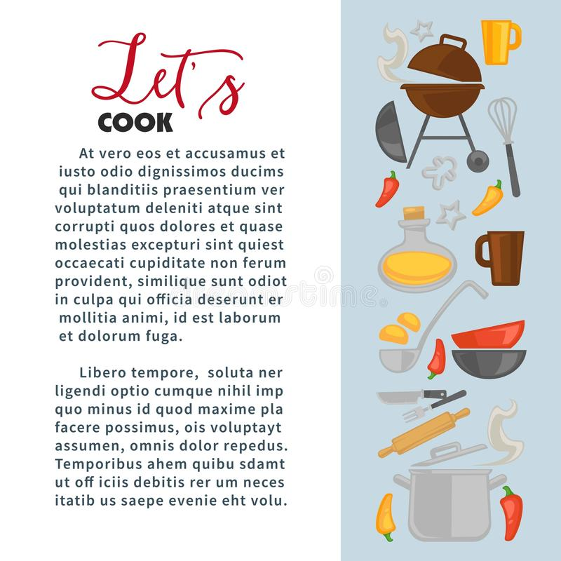 Kulinarny wektorowy plakat szefa kuchni kucharza naczynia royalty ilustracja